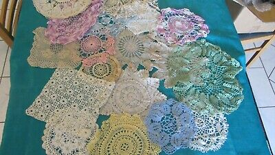 Vintage  Doilies doiley table tray cloths embroidered crochet edge
