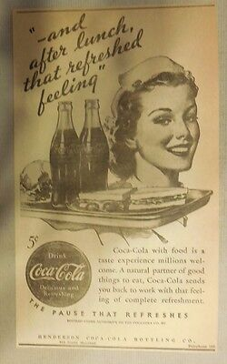 """Coca-Cola ad: """"That Refreshed Feeling"""" 1930's ~ 6.5 x 9 inches 1930's"""