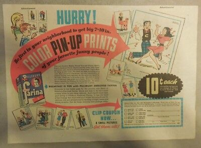 """Pillsbury Cereal Ad: """"Comic Strip Pinups! Farina Cereal 1950's 7 x 10 inches"""