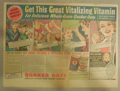 "Quaker Cereal Ad: ""Vitalizing Vitamins!"" from 1930's Size: 11 x 15 inches"