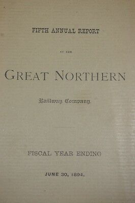 Annual Report from the Great Northern Railway Company from 1894