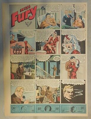 Miss Fury Sunday by Tarpe Mills from 3/22/1942 Tabloid Page Size!  Very Rare!