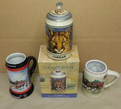 3 Vintage Budweiser Anheuser Busch Beer Steins Wall Decor Clydesdale Horses Mugs