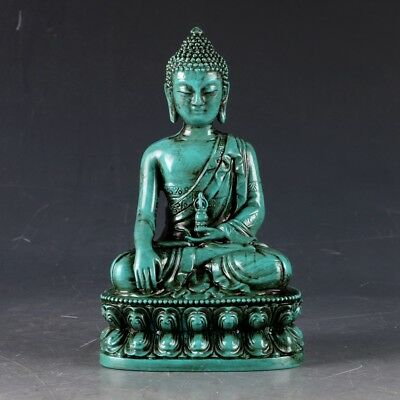 100% Natural Turquoise Hand Carved Buddha Statues LSS001+b
