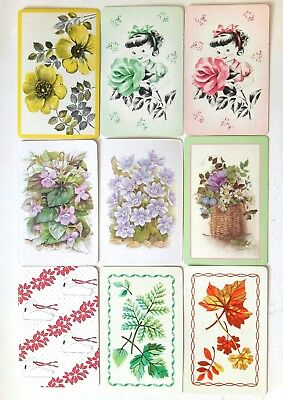 vintage Playing cards assorted lot of 9 swap card single lady flowers roses