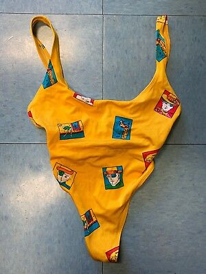Vintage Peter Max Via Objects One-Piece Thong Bathing Suit Body Suit