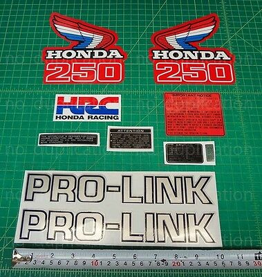 86' 1986 honda CR250R dirtbike 10pc Vintage graphics decals stickers kit MX HRC