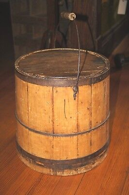 Early Antique Wood Firkin With Metal Rim, Lid and Bale Handle Original Patina