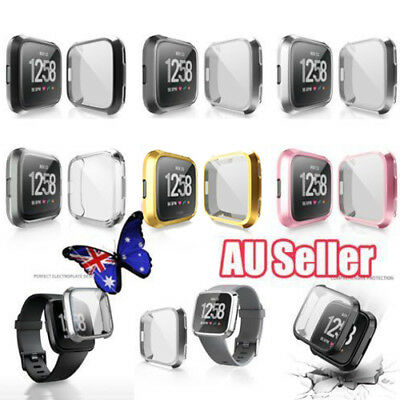 Soft TPU Silicone Shell Frame Case Cover Screen Protector for Fitbit Versa  LG