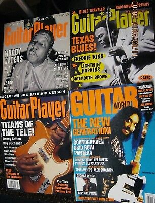 Vintage LOT of 4 Guitar Player (3) & GUITAR WORLD (1) 1990 Era BACK ISSUES EUC!