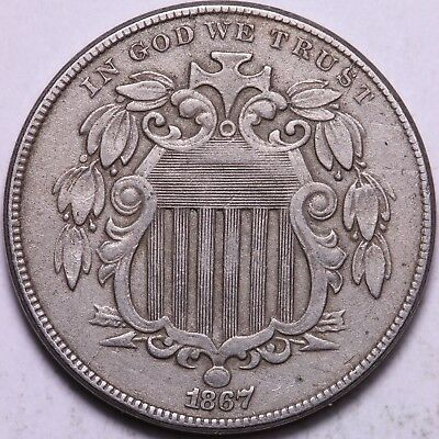 1867 Shield Nickel - Strong Details, Problem Free                K10AEM