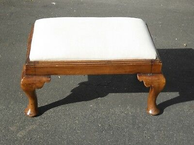 Vintage Queen Anne Style Footstool Ottoman with White Upholstery