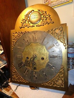 Antique-18th Century-Brass Dial-Grandfather Clock Movt-8 Day-To Restore-#T16