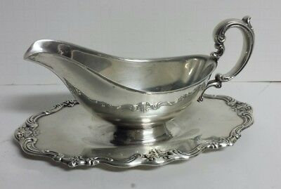Vintage Gorham YC1306 Gravy Boat with Attached Dish Silver Plate - Free Ship!