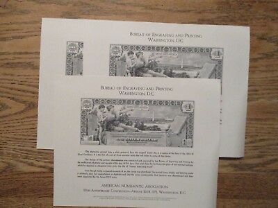 Bureau Engraving Printing Souvenir Sheets of Stamps & Currency, Lot of 20 Cards,