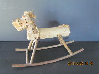 """Primitive Looking Hand Forged Iron Rocking Horse 11"""" Long x 12"""" Tall - Very Nice"""