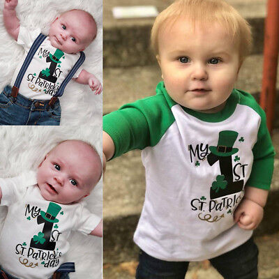 2pcs Toddler Kids Baby Boys Outfits Clothes Romper+T-shirt Shoulder Sleeves Tops