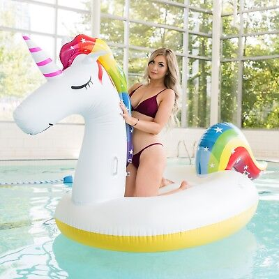 Giant Inflatable Unicorn Swimming Pool Float Cute Multicolour Floatie