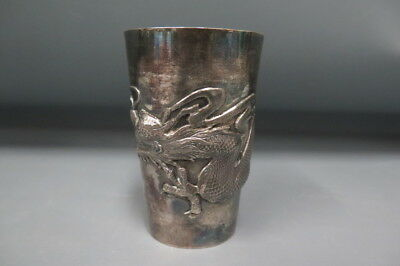 Antique Chinese Sterling Silver Dragon Embossed Relief Beaker Cup 133g