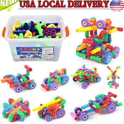 156Pcs/Set Colorful Mixed Color Water Pipes DIY Building Blocks Educational Toy