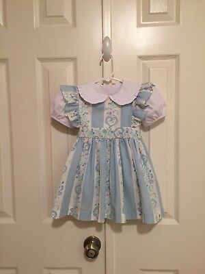 VTG - Blue/White Stripe/Floral Pinafore & Blouse - 18-24 months - Note Flaws