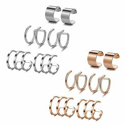 3Pairs Stainless Steel Ear Cuff Set Non-Piercing Fake Clip on Cartilage Earrings