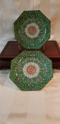 """2 - 8"""" Octagon Emerald Green """"Cabbage Pattern"""" Plates -19th Century Qing Dynasty"""