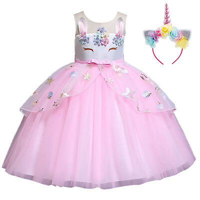Flower Girl Unicorn Dress for Kid Party Tutu Birthday Princess Cosplay Costume
