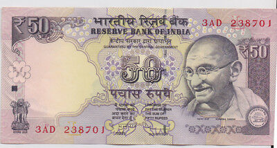 India 50R banknote 2012 Uncirculated 3AD