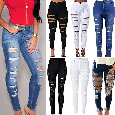 Women Denim Skinny Ripped Pants High Waist Stretch Jeans Slim Pencil Trousers US