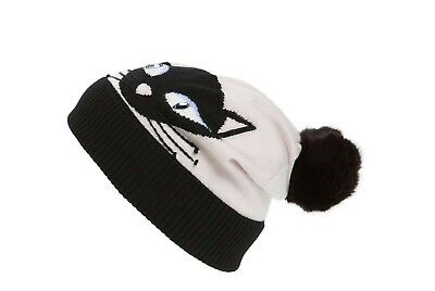 32c7f1710 KATE SPADE COOL Cat Beanie Hat w/ Pom Pom Black Cream Crystal Blue Eyes NWT  OS