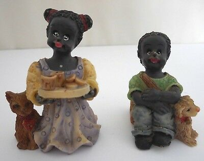 Vintage African American Boy and Girl Resin Figurines Milk and Cookies, with Pet