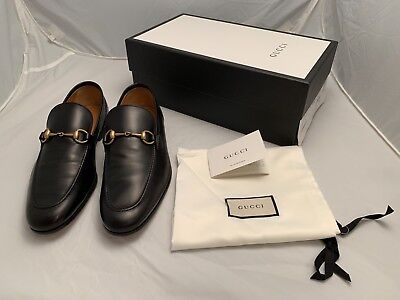 95005a3a7d0e GUCCI Jordaan Leather Men s Horsebit Loafers Black Size 9.5(Gucci) 10 US
