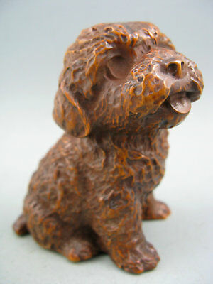 Rare Old Antique Collectible Boxwood Handwork Dog Netsuke Statue