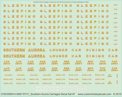 NSWGR Southern Aurora Carriages Decal Set #1 - 1/87 (HO) 1/160 (N) - Waterslide