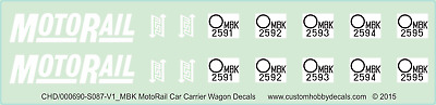 NSWGR MBK & MBY MotoRail Car Carrier Wagon Decals - 1/87 (HO) - Waterslide