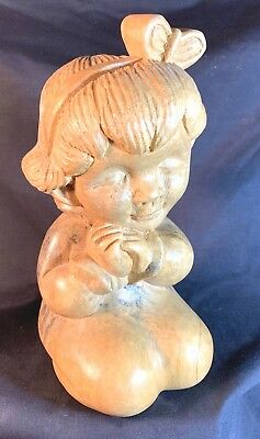 """Vintage Art Deco 9.5"""" Wood Carving of a Girl"""