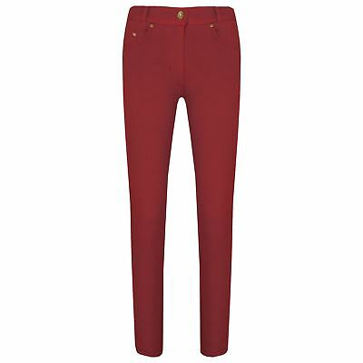 Girls Skinny Jeans Kids Red Stretchy Denim Jeggings Fit Pants Trousers 5-13 Yrs