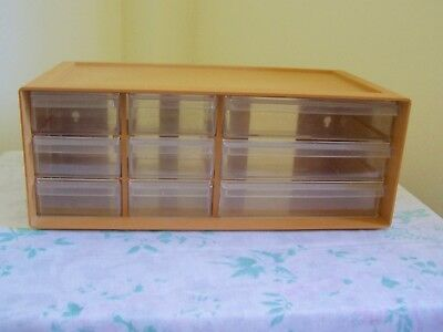 Vintage Willow Sewing Organiser 9 Drawers, Size 31 Cm X 16.5 Cm X 12 Cm High