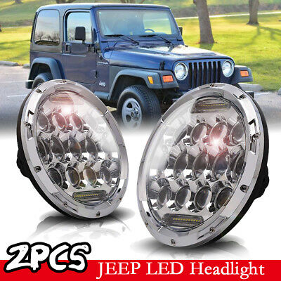2x7 INCH 75W Chrome LED Headlight Hi/Lo Beam Fit 97-18 Jeep Wrangler Harley