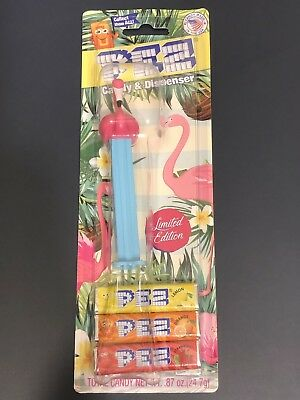 Pez Flamingo Mabel Floyd Blue Stem Limited Edition Dispenser Bloster Pack Card