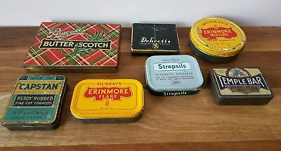 Vintage Tins x 7 Advertising Tobacco Medical Lollies Collectable Biscuit