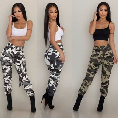 Women Camouflage Pants Camo Casual Cargo Jogger Military Army Combat Trousers AU
