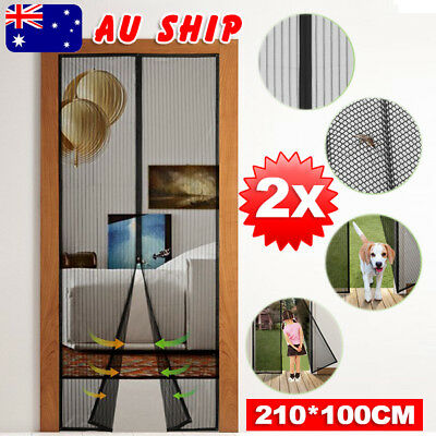 2X Magnetic Door Mesh Black Fly Screen Magic Magna Bug Mosquito Curtain AU