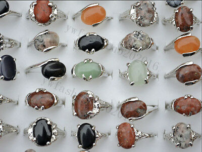 FREE wholesale lots 5pcs natural assorted Gemstone silver tone rings jewelry