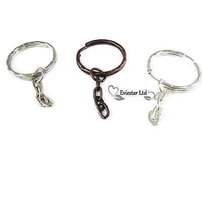 Keyrings 25mm Double Split Ring with Chain, Key Chain Findings BOL1