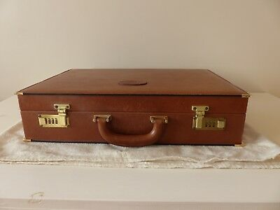 Attaché-case en cuir marron clair Lancel vintage
