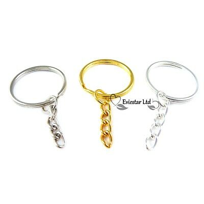 Key Rings, 25mm Double Split Rings, 4 Link Flat Chain with Jump Rings RMP