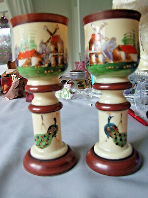 Pair of Antique ??Dutch Cream Glass Vases painted with Windmills & Peacocks