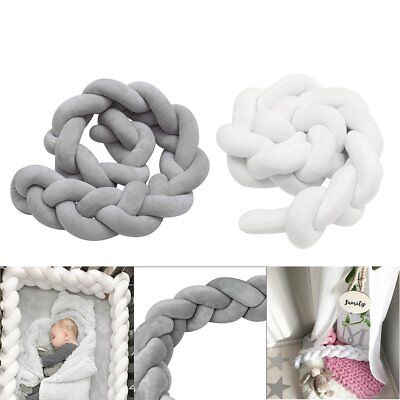 2/3M Infant Baby Plush Crib Bumper Bedding Bed Cot Braid Pillow Pad Protector Z1